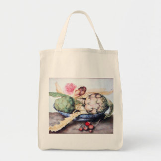 SEASON'S FRUITS 4- ARTICHOKES, ROSE & STRAWBERRIES TOTE BAG