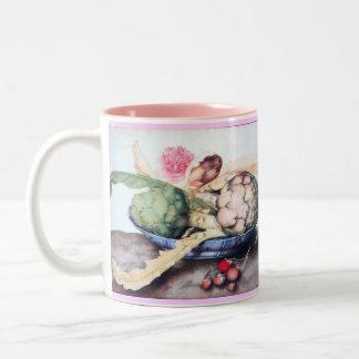 SEASON'S FRUITS 4- ARTICHOKES, ROSE & STRAWBERRIES Two-Tone COFFEE MUG