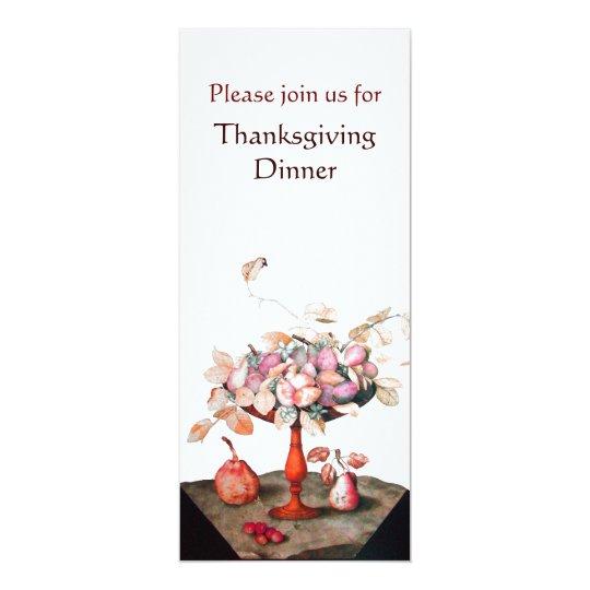 SEASON'S FRUITS 5 Thanksgiving Dinner Party white Card