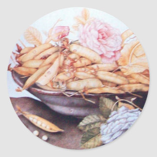 SEASON'S FRUITS 6 - BEANS AND ROSES CLASSIC ROUND STICKER