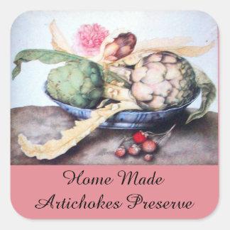 SEASON'S FRUITS / ARTICHOKE Preserve Canning Square Sticker