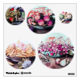 SEASON'S FRUITS /ARTICHOKES, GRAPES ,PEACHES BEANS WALL DECALS