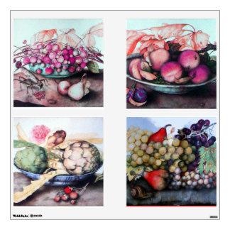 SEASON'S FRUITS /ARTICHOKES, GRAPES ,PEACHES PEARS WALL DECALS