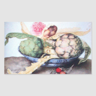 SEASON'S FRUITS / ARTICHOKES, ROSE & STRAWBERRIES RECTANGULAR STICKER