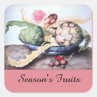 SEASON'S FRUITS / ARTICHOKES, ROSE & STRAWBERRIES SQUARE STICKER