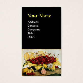 SEASON'S FRUITS / CHERRIES AND CARNATIONS BUSINESS CARD