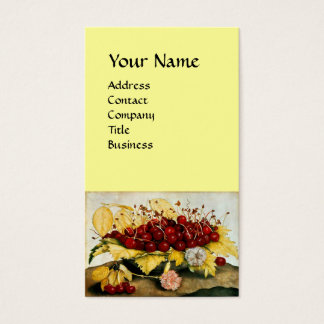 SEASON'S FRUITS /CHERRIES AND CARNATIONS, Monogram Business Card