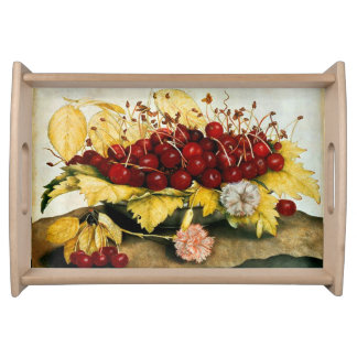 SEASON'S FRUITS / CHERRIES AND CARNATIONS SERVING TRAY