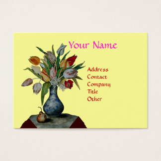 SEASON'S FRUITS - COLORFUL TULIPS  MONOGRAM BUSINESS CARD