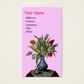 SEASON'S FRUITS - COLORFUL TULIPS  MONOGRAM, pink Business Card