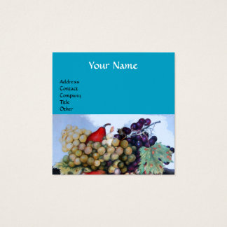 SEASON'S FRUITS GRAPES AND PEARS Bright Blue Square Business Card