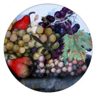 SEASON'S FRUITS / GRAPES AND PEARS CLOCKS