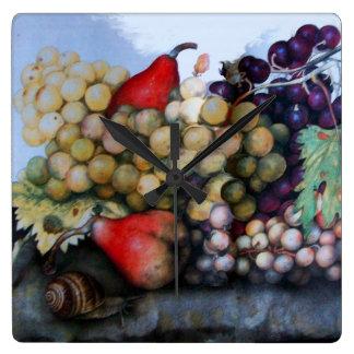 SEASON'S FRUITS / GRAPES AND PEARS SQUARE WALLCLOCK