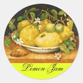 SEASON'S FRUITS LEMON JAM , PRESERVE ,CANNING JAR CLASSIC ROUND STICKER