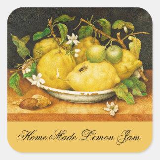SEASON'S FRUITS LEMON JAM , PRESERVE ,CANNING JAR SQUARE STICKER