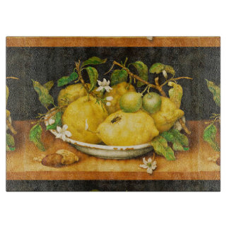 SEASON'S FRUITS LEMONS AND WHITE FLOWERS CUTTING BOARD