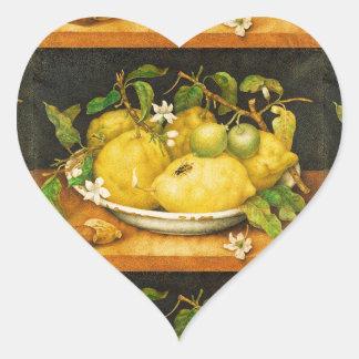 SEASON'S FRUITS LEMONS AND WHITE FLOWERS Heart Heart Sticker