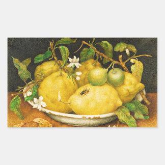 SEASON'S FRUITS LEMONS AND WHITE FLOWERS RECTANGULAR STICKER