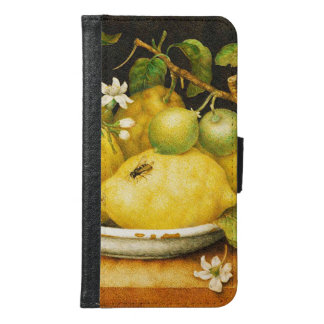 SEASON'S FRUITS LEMONS AND WHITE FLOWERS WALLET PHONE CASE FOR SAMSUNG GALAXY S6