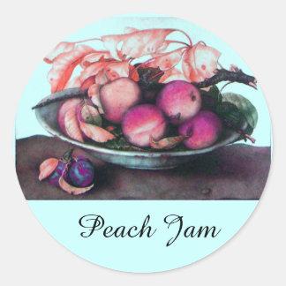 SEASON'S FRUITS / PEACH Preserve Canning Jar Classic Round Sticker