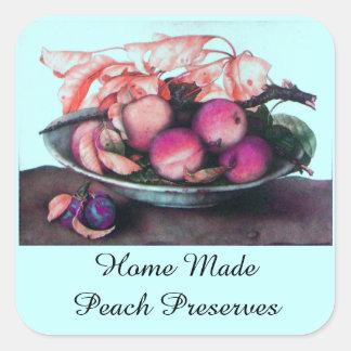 SEASON'S FRUITS / PEACH Preserve Canning Jar Square Sticker