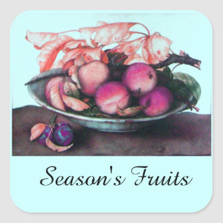 SEASON'S FRUITS / PEACHES AND PRUNES SQUARE STICKER