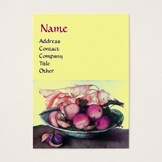 SEASON'S FRUITS Peaches,Prunes and Leaves Yellow Business Card