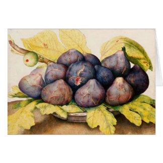 SEASON'S FRUITS / PLATE WITH FIGS AND GREEN LEAVES CARD