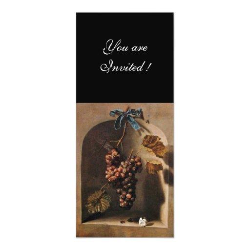 SEASON'S FRUITS - PROSPERITY ,brown green yellow 4x9.25 Paper Invitation Card