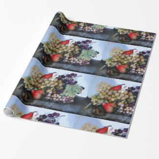 SEASON'S FRUITS / RED WHITE GRAPES AND PEARS WRAPPING PAPER