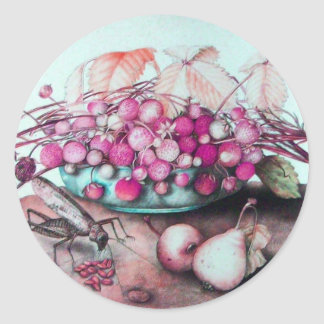 SEASON'S FRUITS/ STRAWBERRIES AND PEARS CLASSIC ROUND STICKER