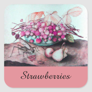 SEASON'S FRUITS / STRAWBERRIES AND PEARS SQUARE STICKER