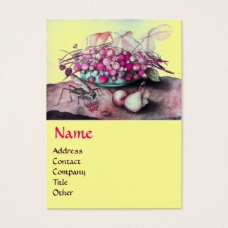 SEASON'S FRUITS /STRAWBERRIES ,PEARS Pink Yellow Business Card