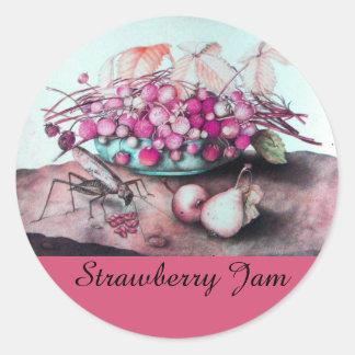 SEASON'S FRUITS ,STRAWBERRY Preserve,Jam, Canning Classic Round Sticker