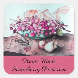 SEASON'S FRUITS ,STRAWBERRY Preserve,Jam, Canning Square Sticker