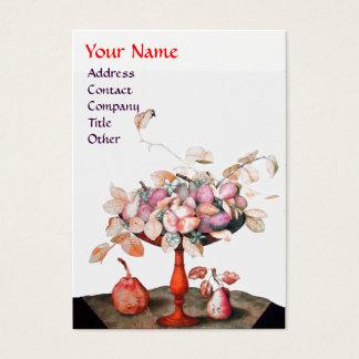 SEASON'S FRUITS VASE,FLOWERS,LEAVES PEARS MONOGRAM BUSINESS CARD