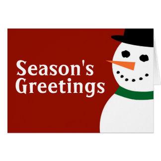 Season's Greetin Snowman Greeting Card