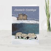 Season's Greeting Digital Painted Sheep And Scener Holiday Card