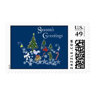 Season's Greeting Postage Stamps