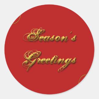 Season's Greeting Red & Gold Classic Round Sticker