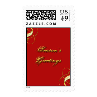 Season's Greeting Red & Gold Stamps