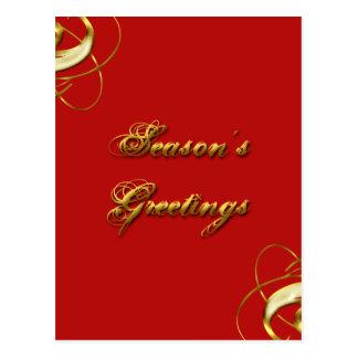 Season's Greeting Red & Gold Postcard