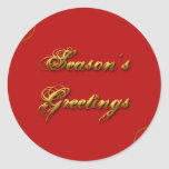 Season's Greeting Red & Gold Round Stickers