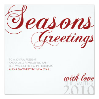 SEASONS GREETING RED WHITE AND GRAY CARD