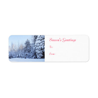 Season's Greeting  Snow Covered Trees Label