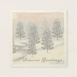 Seasons Greeting Snowy Day Winter Scene 50 Napkins Paper Napkins