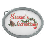 Season's Greeting Text Design, with Pine Cones Oval Belt Buckles