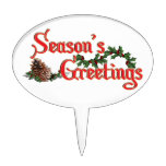 Season's Greeting Text Design, with Pine Cones Cake Toppers