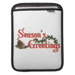 Season's Greeting Text Design, with Pine Cones iPad Sleeves
