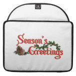 Season's Greeting Text Design, with Pine Cones Sleeves For MacBooks